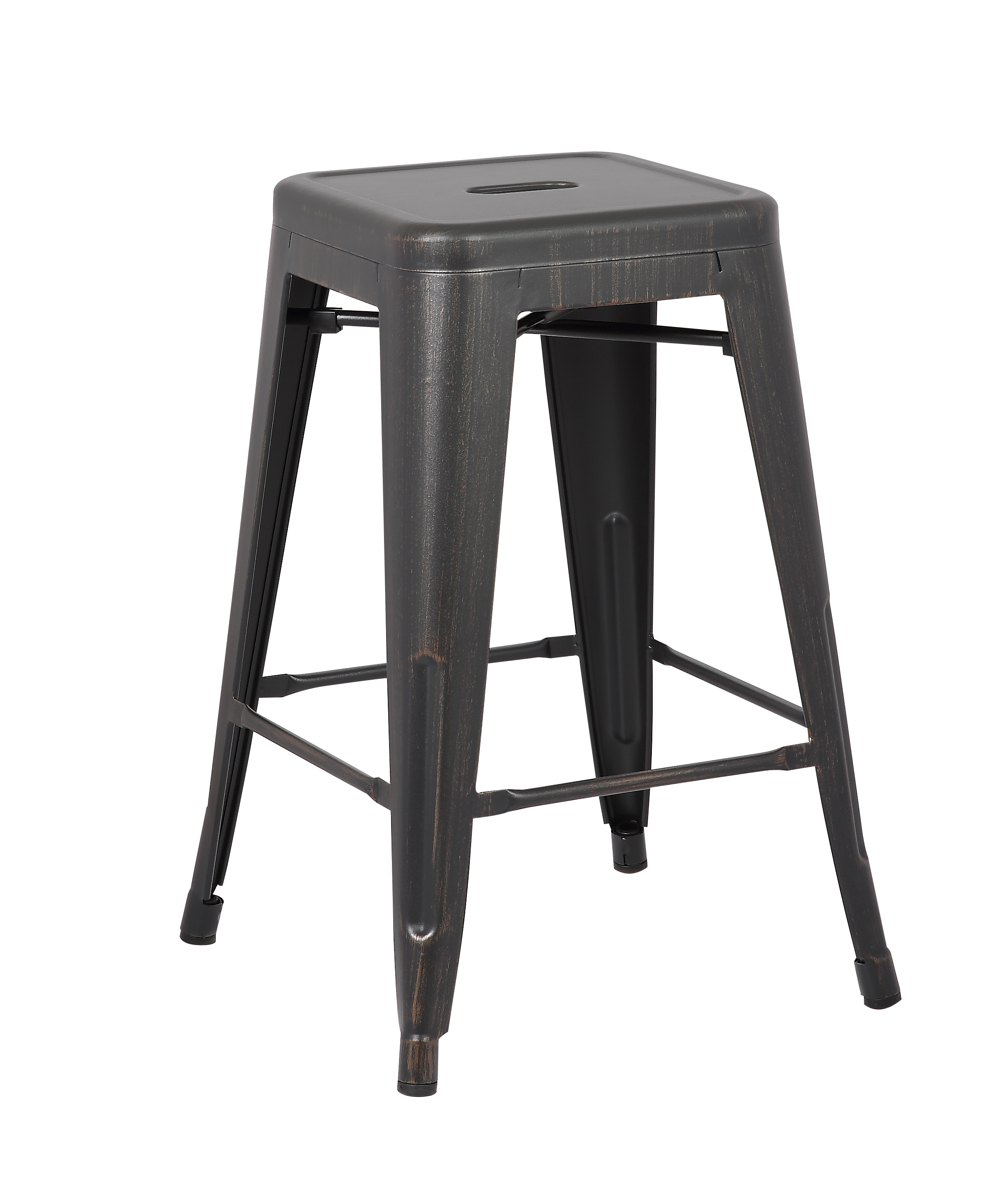 Backless Industrial Metal Bar Stools Distressed Black