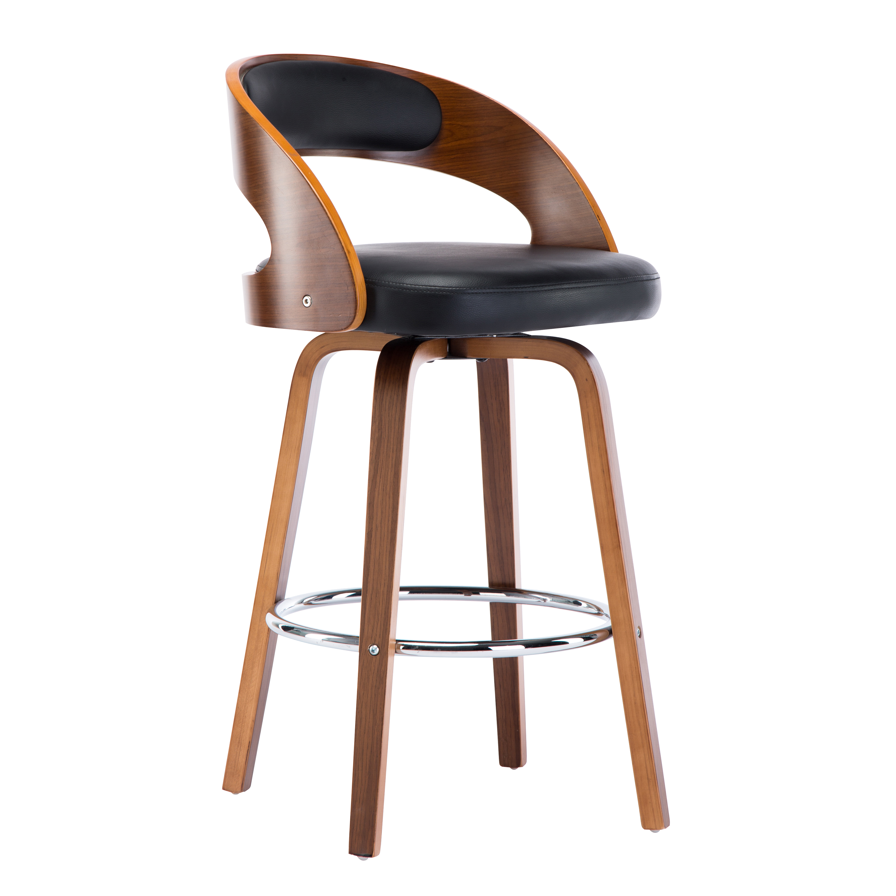 Wood And Black Faux Leather Mid Century Modern Swivel Barstool With