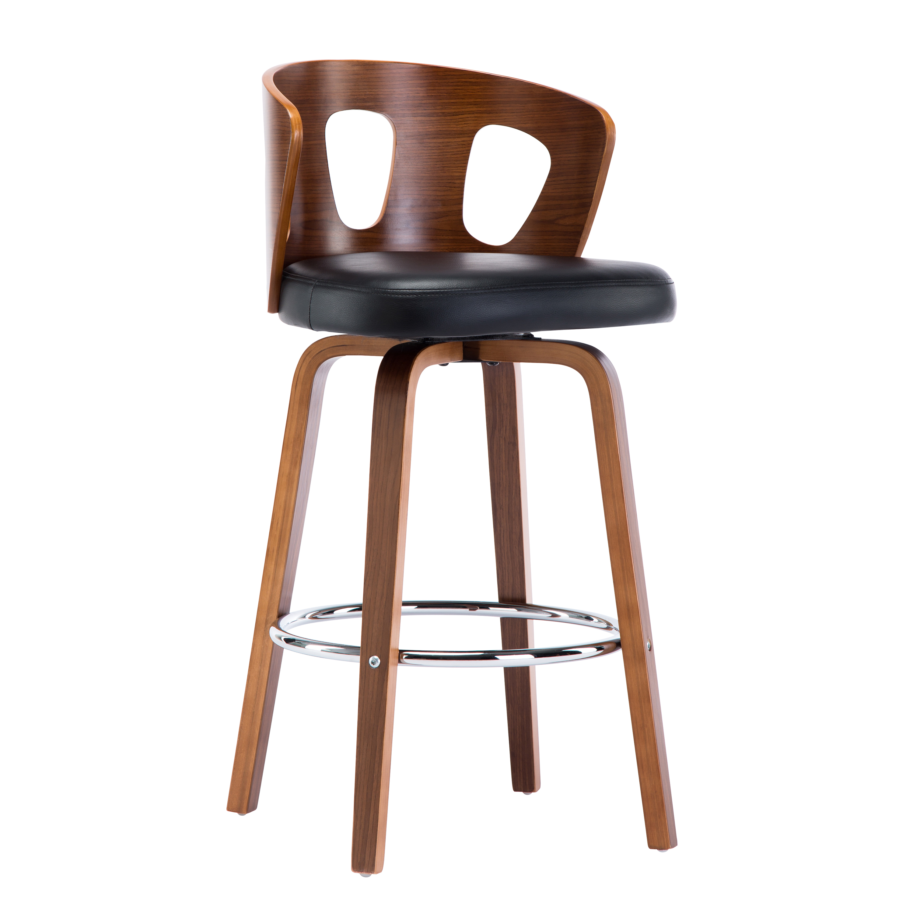 Wood And Black Faux Leather Mid Century Modern Swivel Barstool With Decorative Back 26 Inch Seat Height Christies Home Living