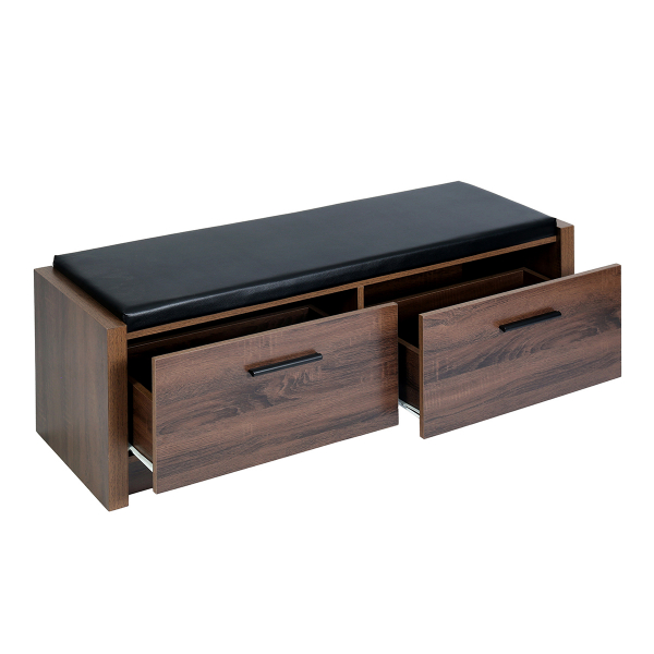 2 Drawer Wood Storage Bench With Faux, Wood Bench With Storage And Cushion